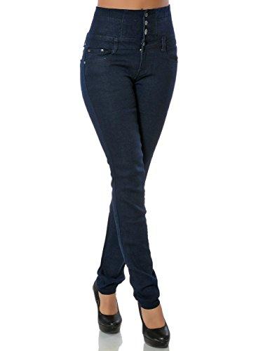 Daleus Daleus Damen High-Waist Jeanshose Skinny Stretch DA 15842, Blau, 38