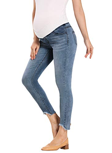 Foucome Women's Maternity Jeans Low Rise Skinny Ankle Pants Comfy Stretch Jeggings (Dark Blue, M)