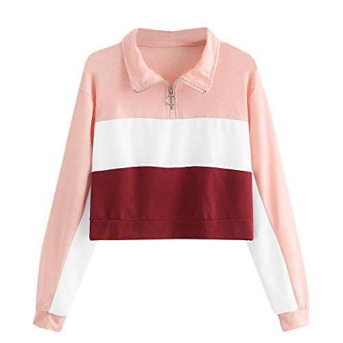 Frauen Patchwork Sweatshirt MYMYG Langarm Bluse mit Kapuze Pullover Tops Shirt Kapuzenpullover Tunnelzug Hoodie Mädchen Bluse(Rosa,EU:36/CN-M)