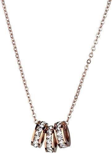 Collar Collar Tres Anillos Collar de Acero de Titanio Diamante Mujer Desvaneciéndose Oro Rosa Cadena de Clavícula Regalo de Moda Colgante Accesorios para Mujeres Hombres Niños Niñas Regalo