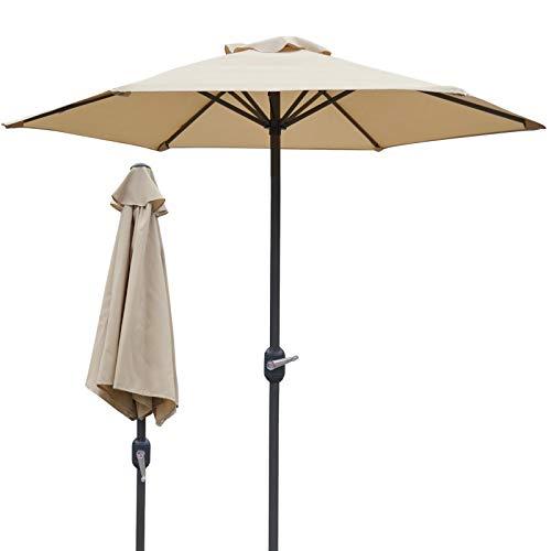 Parasols 6.6 Pieds Beige Marché Parapluie de Patio avec Manivelle et 6 Nervures en Acier, Petit de Jardin pour Au Bord de La Piscine Espace Étroit (Size : 2m/6.6ft/79in)