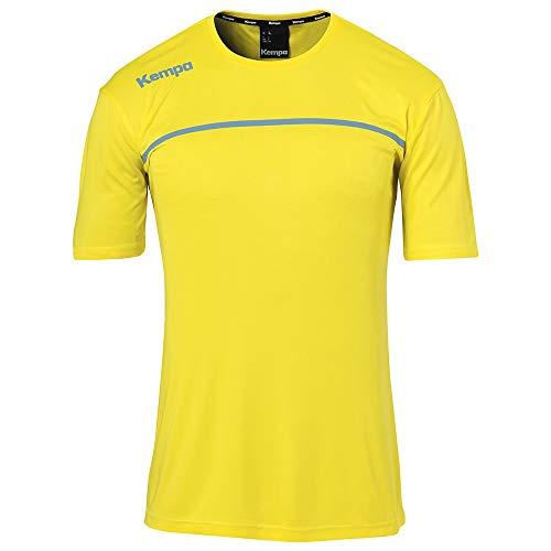 Kempa Kinder Emotion 2.0 Poly Shirt Poloshirt, limonengelb/Dove blau, 140