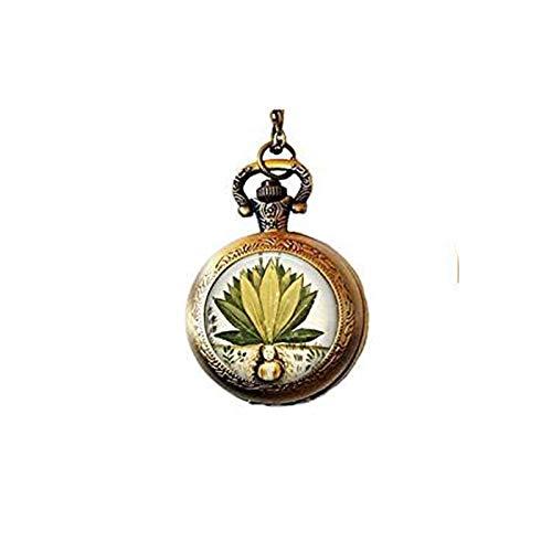 qws MANDRAKE Pflanze Antik Lithograph – Hexentrank – Magische Pflanze – Mittelalter Medizin – Mystische Pflanze – Renaissance Schmuck Taschenuhr Halskette
