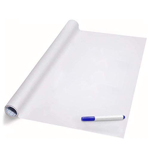 Self Adhesive White Board Paper, Easy Peel and Stick Dry Erase Whiteboard for Classroom, Planning, Office, Kid Painting with 1 Water Pen (78.7' x 17.7')