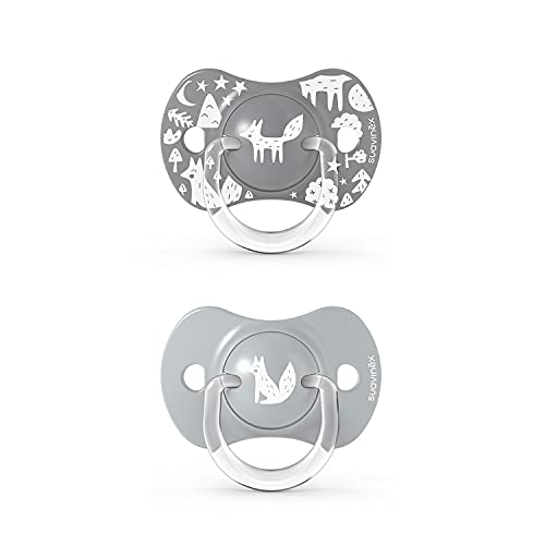 SUAVINEX Nuevo Pack 2x Chupetes Fisiológicos Sx Pro, Para Bebés +18 Meses, Chupetes Con Tetina Fisiológica de Silicona Sx Pro, color Gris, +18 Meses, 43 g - Pack de 2