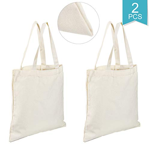 Faxco 2 Pack Canvas Tote Bag,17.7''x15'' Heavy 12oz Tote Shopping Bag,Craft Canvas Bag White Cloth Bag,DIY Painting Canvas Tote Bag