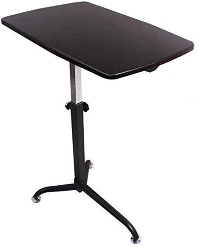 Solid Wood Laptop Desk Bedside Computer Table Height Adjustable Tray Stand Laptop Desk with Stable Bed (Color: Black)