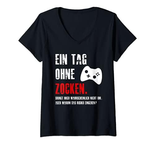Mujer Gamer Zocker Gaming Fun vídeo juego frase Divertido regalo Camiseta Cuello V