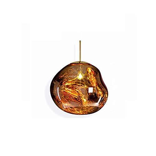 Lámpara Colgante, Lámpara Techo Colgantes, Lamparas de Techo Modernas, IluminacióN Colgante con Pantalla de Cristal, E27 Lámpara Colgante LED, Lámpara Colgante Irregular, ΦA=20cm, Dorado