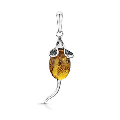 Amberta Ciondolo in argento Sterling 925con ambra baltica, topolino e Argento, colore: Orange, cod. S925-BC-0568-PEN-3H