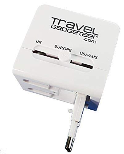 Adattatore universale da viaggio e caricabatterie USB di Travel Gadgeteer, con due porte USB. Caricate il vostro pc portatile, smartphone, tablet tutti allo stesso tempo.
