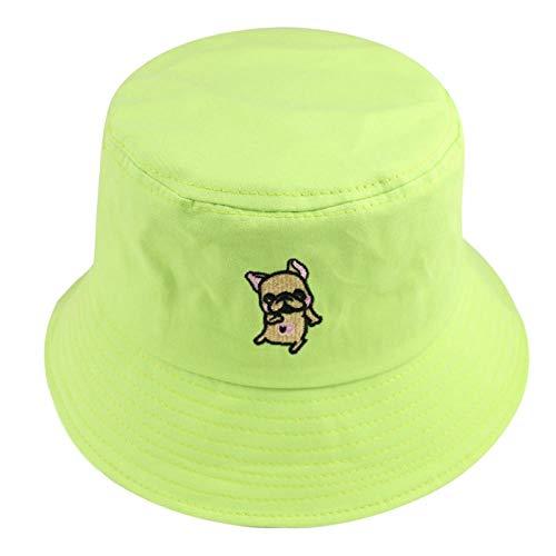 Bucket Hat Chapeau Mode Été Mignon Noir Jaune Rose Vert Couleur Unie Broderie Seau Chapeaux Femmes Casquettes Vert