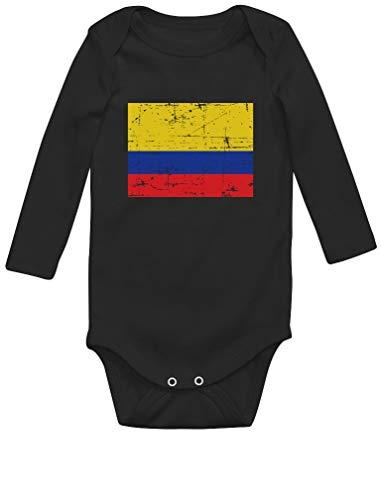 Body de Manga Larga para bebé - Bandera de Colombia 6-9 Mes Negro