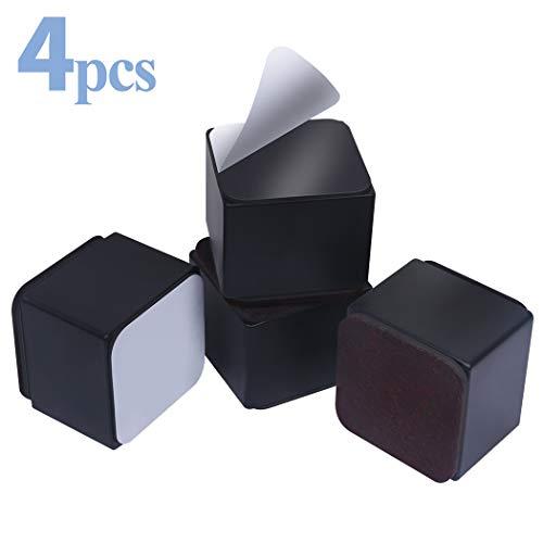 Ezprotekt 5 cm Möbelerhöhung aus Karbonstahl, 6cm breit, Selbstklebende Möbelerhöhung fügt 5 cm Höhe zu Betten, Sofas Schränken, Unterstützt 20.000 lbs, Schwarz Quadrat