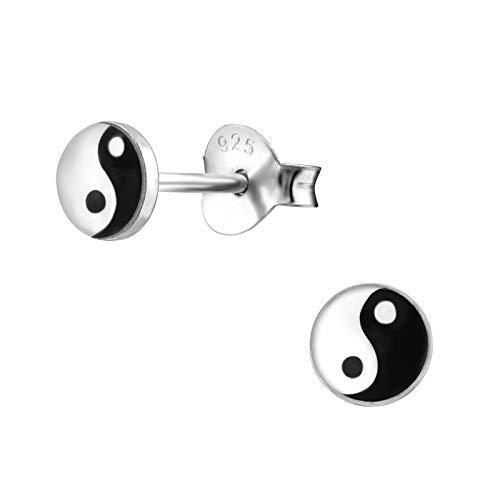 Laimons Pendientes para mujer Disco con diseño yin yang Negro, Blanco Plata de ley 925