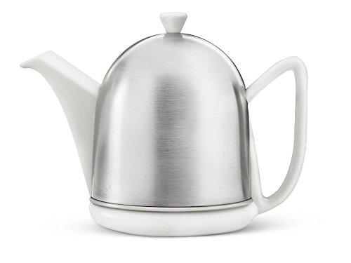 Steingut-Teekanne Cosy® Manto weiß mit filzisoliertem Edelstahlmantel matt gebürstet 1,0 ltr.