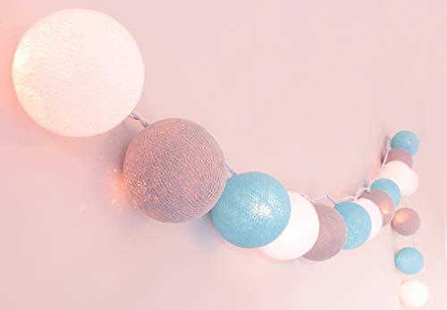 CREATIVECOTTON Guirlande Lumineuse, Boules de Coton avec Mode Timer et Mode Veilleuse (Maritime, 20 Boules)