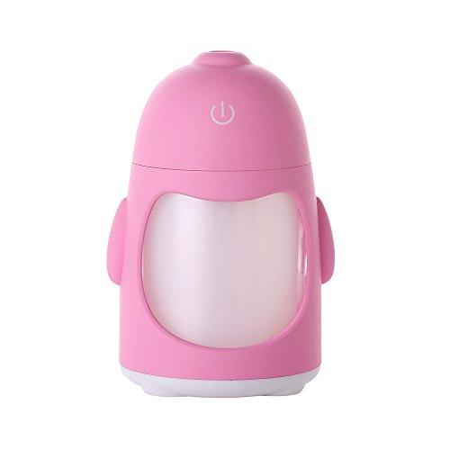 KITCHEN TOOLS Penguin máquina aromaterapia coche mini USB humidificador ultrasónico dormitorio cabecero, Rosa Luz de humidificación