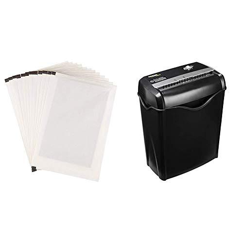 AmazonBasics - Hojas para lubricar y afilar trituradoras - Pack de 12 + Destructora...