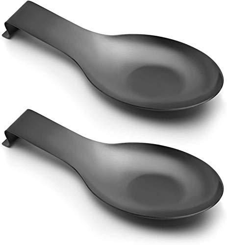 FSHW Soporte de Cuchara de 2 unids para Estufa, Cuchara de Acero Inoxidable Resto para la Estufa de encimera de Cocina Decoración para el hogar (Color : Black)