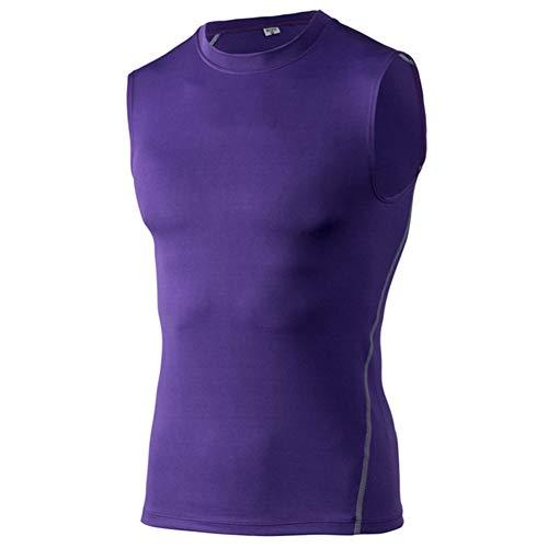 Huaheng Herren Sports Fitness Kompression Ärmellos Tank Top Unterlage Elastisch Schnell Trocknend Unterhemd Hemd - Lila, L