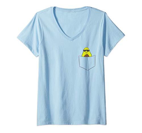 Mujer Aguacate en un bolsillo Amante del guacamole Lindo Avocado Camiseta Cuello V