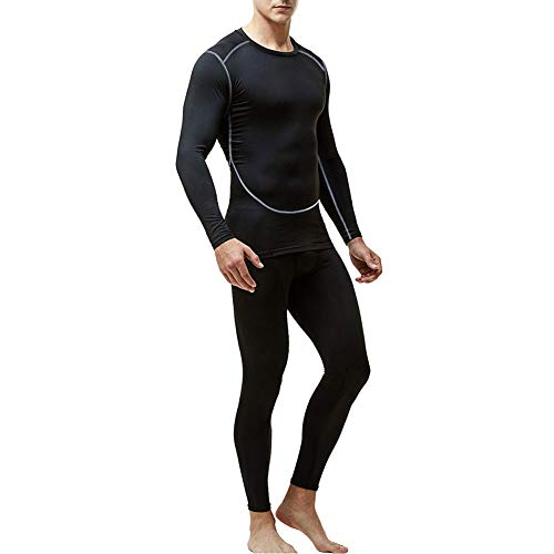 Men's Thermal Underwear Set, Base Layers Winter Sports Gear Compression Long Johns for Men - Long Sleeve Tops & Pants Black