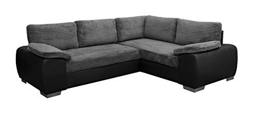 ENZO - CORNER SOFA BED WITH STORAGE - JUMBO CORD FABRIC LEATHER - RIGHT HAND SIDE ORIENTATION (GREY AND BLACK)