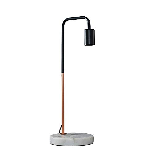 MiniSun – Moderne Tischlampe mit zweifarbigem Finish in schwarz und Kupfer und weißem Marmorfuß inklusive Kabel und Stecker – Industrielle Tischlampe