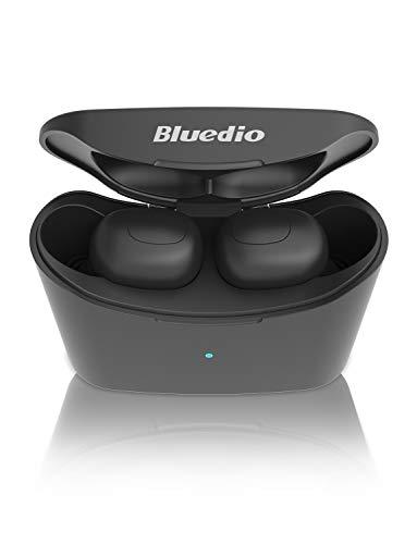 Bluedio T-Elf Audífonos Inalámbricos Verdaderos,Auriculares Bluetooth 5.0 con Micrófono, Auriculares Deportivos Inalámbricos en la Oreja para iOS y Android con una Caja de Carga Portátil de 650 mAh