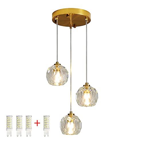 Iluminación colgante G9 Luz de luz Longitud Longitud 1 metro Cristal Lámpara Cubierta de tres colores Ajuste de techo de techo Comedor [Clase de eficiencia energética A++]