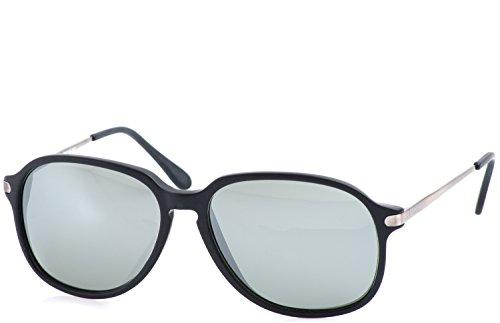 Funk Sonnenbrille Diplomat Pudding (Schwarz Matt | Gläser: Leicht Silber verspiegelt)