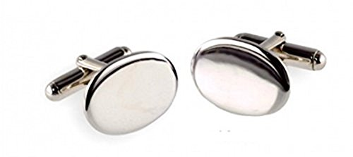 Boutons de manchette ovales en argent sterling