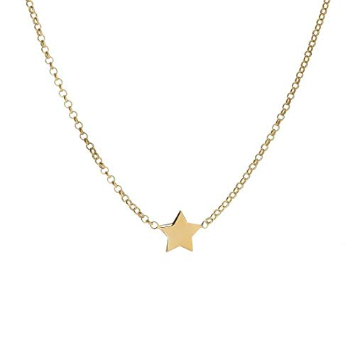 Remo Gammella - Collar colgante de mujer con micro estrella, plata 925 bañada en oro amarillo, collar con estrella colgante, longitud 37-40 cm