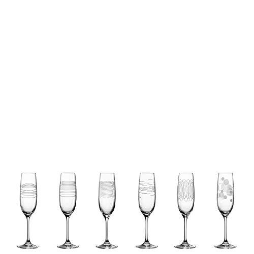 Leonardo Casella Sekt-Gläser 6er Set, Prosecco-Glas mit Mustern, spülmaschinengeeignete Sektkelche, stoßfeste Champagner-Gläser, 190 ml, 061798