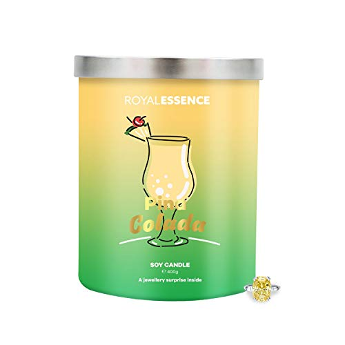 Royal Essence Pina Colada Jewellery Candle(Surprise 925 Sterling Silver Jewellery Valued at £50 to £3,000) Ring Size 8