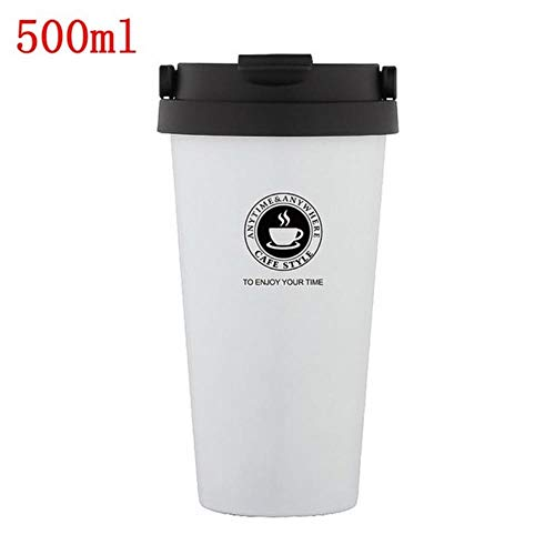 380/500 ml draagbare koffiemok thermoskan thermo waterfles auto mok thermocup roestvrijstalen thermoskan beker nieuw, wit