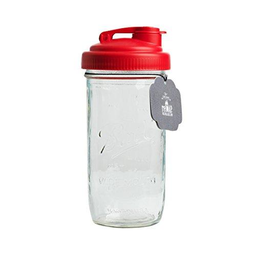 Mason Jar Wasserflasche für Limonade, Eiskaffee, Tee und Wasser   Inklusive rotem reCAP POUR Deckel in breiter Öffnung