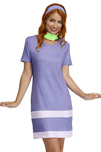 Halloween Costume for Women Daphne Short Sleeve Cosplay Adult Party Purple Mini Dress S