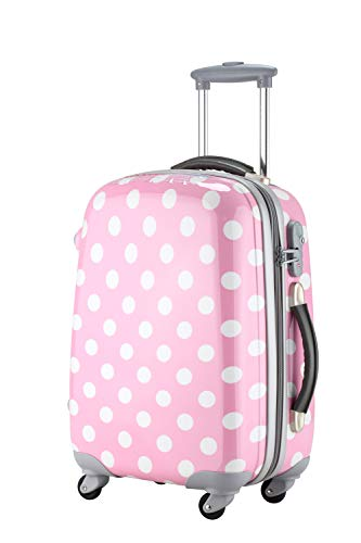 Ambassador Luggage Polka Dot Print Style Luggage Travel Spinner Suitcase (Pink, Small)