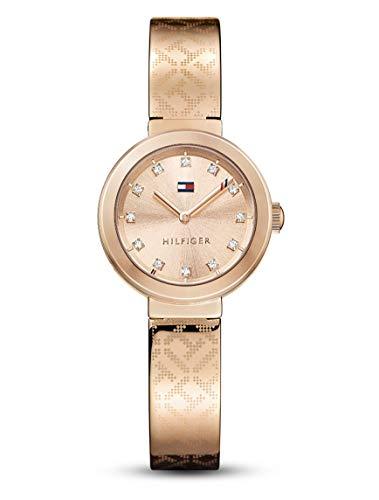 Tommy Hilfiger Damen Analog Quarz Uhr mit Edelstahl beschichtet Armband 1781715