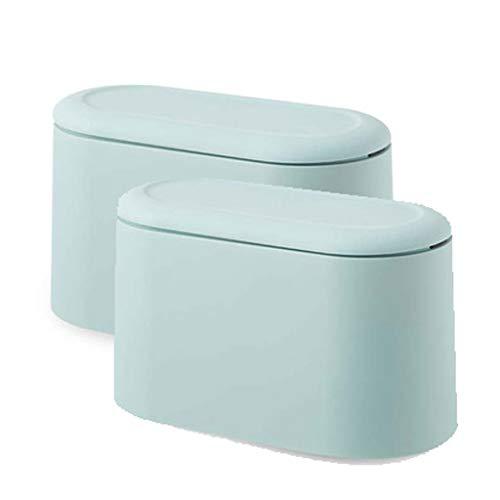 Cubos de basura Contenedor de basura Bote de basura con tapa, de plástico pequeño cubo de basura, residuos diminutos cesta, compacto cubierto de basura que se puede cerrar Bin ( Color : 2 pack Green )