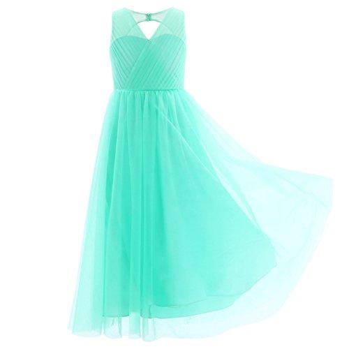 TiaoBug Blumenmädchenkleider für Hochzeits Brautjungfern Tüll Festzug Partei Festliches Kleid für Mädchen 104 116 128 140 152 164 Türkis 134-140