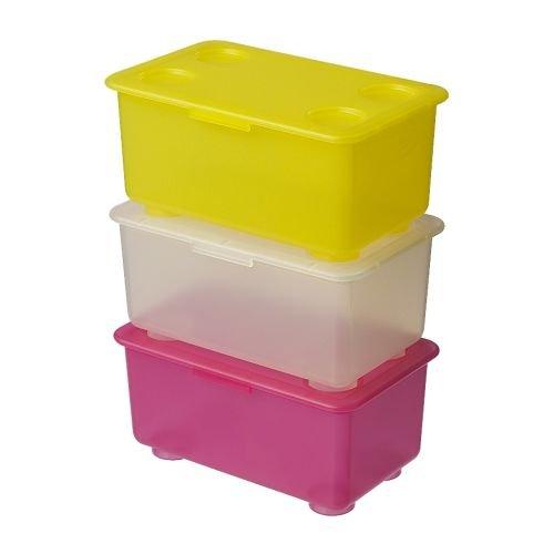 Caja amarilla de almacenaje con tapa