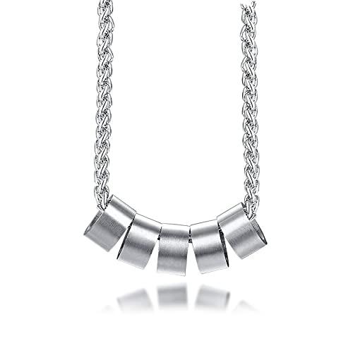 ShSnnwrl Collar Elegante Collar con dijes de Cuentas de 2/3/4/5/6 Nombres para Hombres, Regalos Personalizados con Nombre de Familia Person