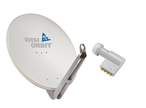 WISI Satellitenschüssel Set lichtgrau 85 cm für Multischalter-Anlagen oder Kanalaufbereitungen bestehend aus OA 85 G und OC 04 D