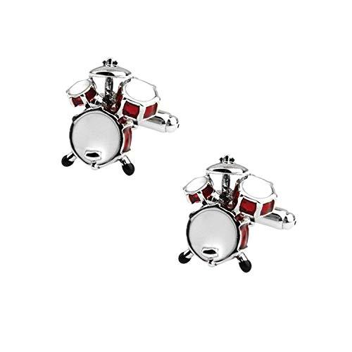Fliyeong Jazz Drum Manschettenknöpfe Musikstil Manschettenknöpfe Mode Personalisierte Manschettenknöpfe für Hochzeitsgeschäftsparty Treffen Anlässe Rot