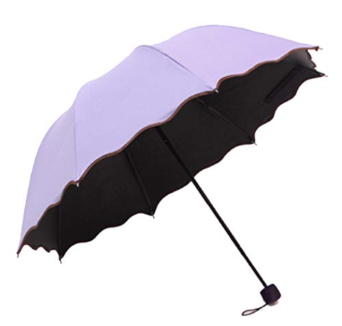 Travel Umbrellas for Women,Sun Umbrellas for Women,Compact Umbrellas for Rain and Wind with Met Water Begin Bloom and One Handed Operation. (purple)