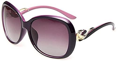 LEYIS Hembra polarizó Las Gafas de Marco Grande - Protección UV - Alto Grado de Refinado de la decoración del Metal (Color: púrpura), Nombre de Color: Vino Tinto (Color : Purple)