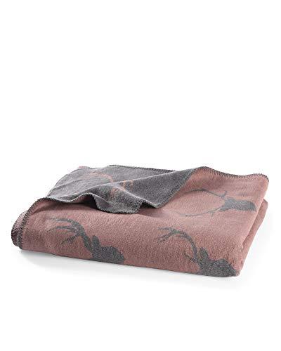 myHomery Kuscheldecke aus Baumwolle - Decke fürs Sofa mit Kettelrand - Wolldecke warm & kuschelig - Sofadecke XL mit Hirschköpfen-Motiv- Bordeaux | 150x200 cm